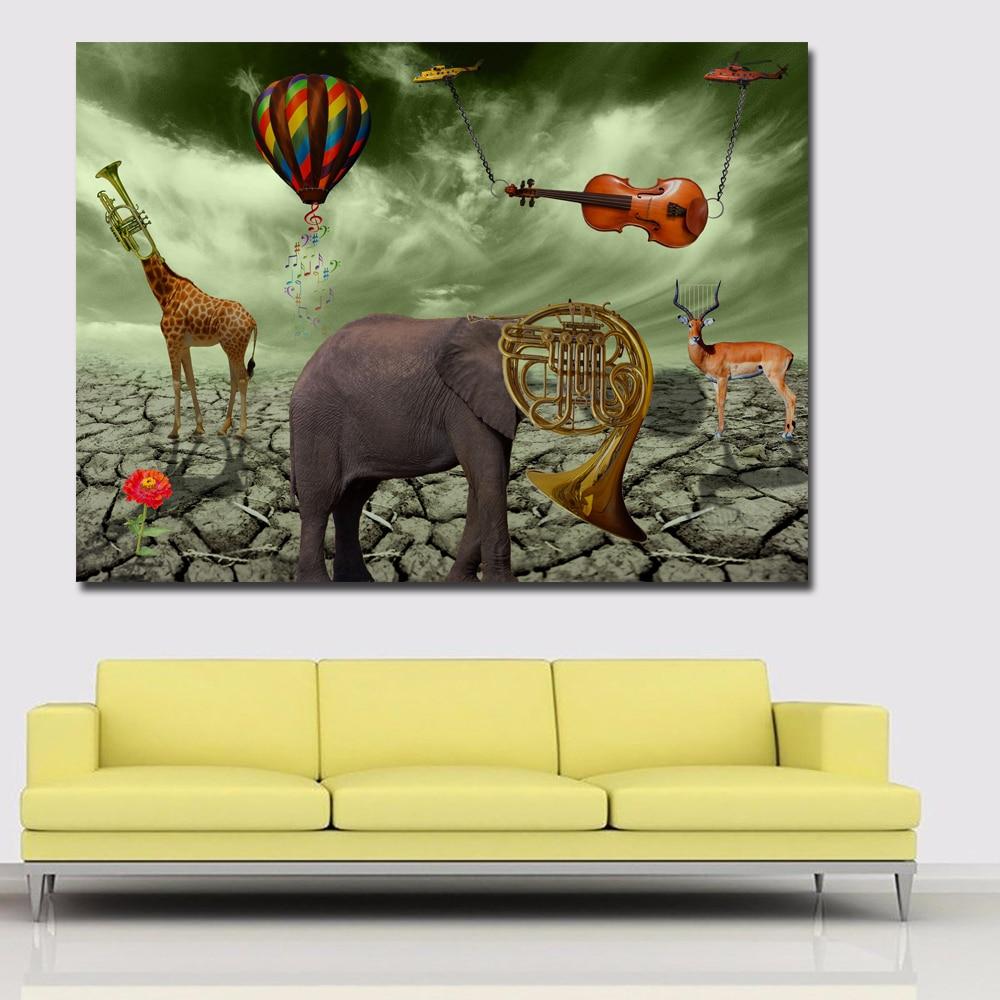 Buy Salvador Dali Elephant Deer Trumpet Paintings Best Painting Canvas Printed