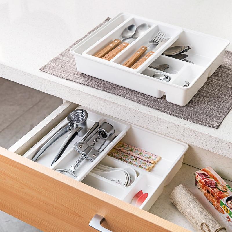 Adjustable Plastic Kitchen Storage Boxes Stretch Clapboard Drawer Partition Storage Organizer DIY Home Tableware Storage Boxes