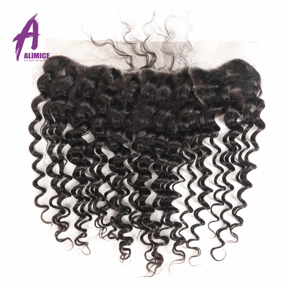Alimice Deep Wave 13x4 Lace Frontal Brazilian Hair Weave Pre Plucked Ear to Ear Lace Frontal Closure with Baby Hair Non Remy