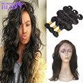 Бразильской человеческие волосы с закрытием объемная волна 360 фронтальная с связки объемная волна бразильских волос с закрытием