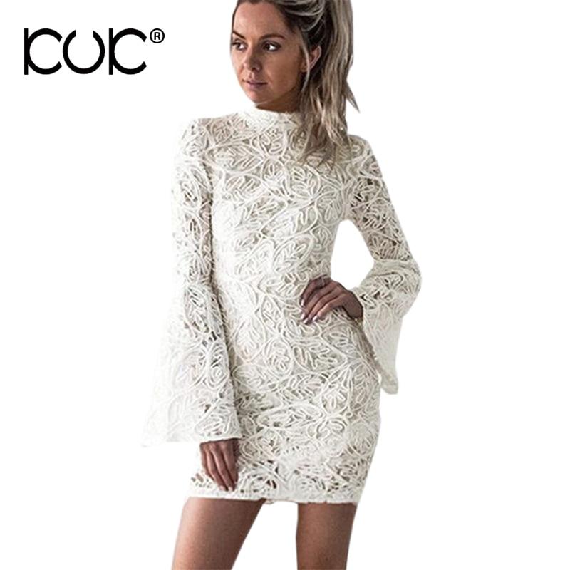 Cheap bodycon dress long sleeve white lace mini dress rose gold box
