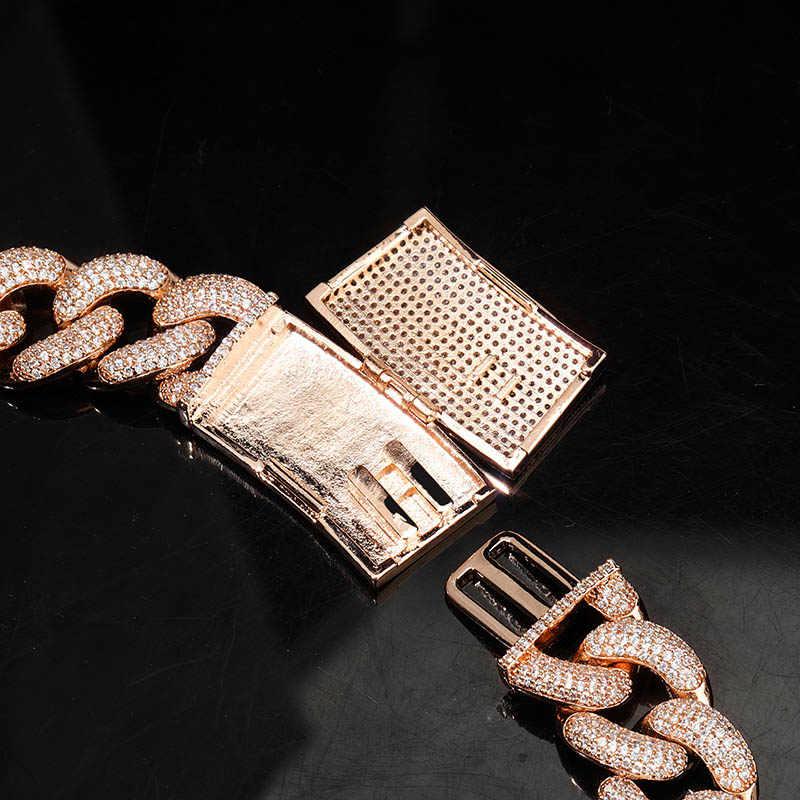 TOPGRILLZ 14mm 20mm najnowszy Box zapięcie Micro Pave Iced CZ kubański Link naszyjniki łańcuchy luksusowe Bling biżuteria moda hip hop dla mężczyzn