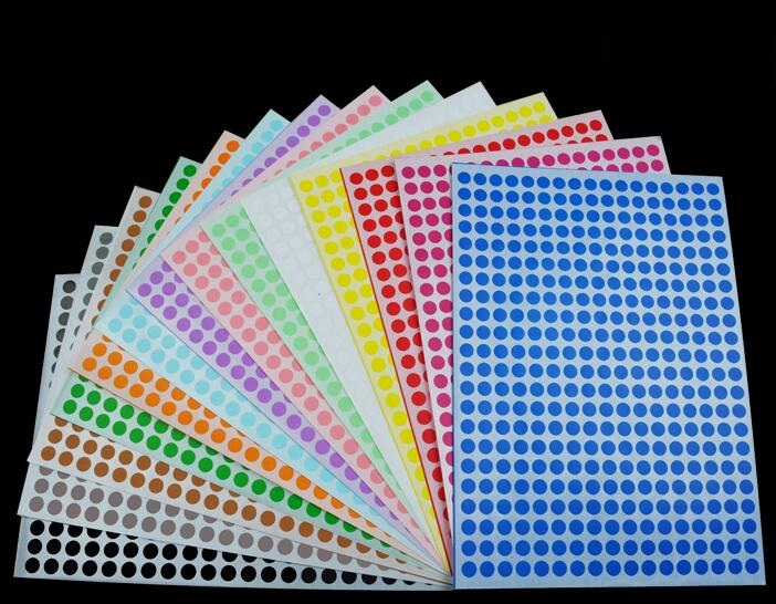 Mixed packs of colour code rectangular stickers Assorted 20 x 30mm Rectangle dots coloured sticky labels 1200