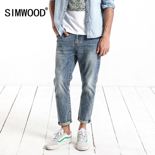 SIMWOOD 2018 Autumn  Summer New Dark Wash Ankle-Length Jeans Men Slim Fit Vintage Basic Blue High Quality Brand Clothing 180057