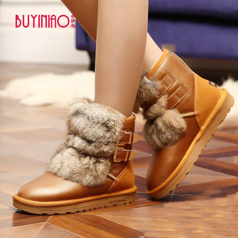 ФОТО BUYINIAO Brand 2017 Luxury Designer Women Snow Boots Buckle Strap Mid-calf Boots Angora Rabbit Wool Winter Boots Botas Mujer