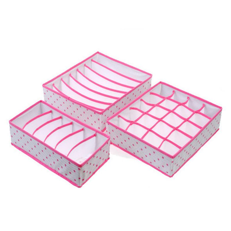 Underwear Storage Boxes 3Pcs Sets Non-Woven Collapsible Organization Draw Divider Container For Bra Ties Shorts Socks