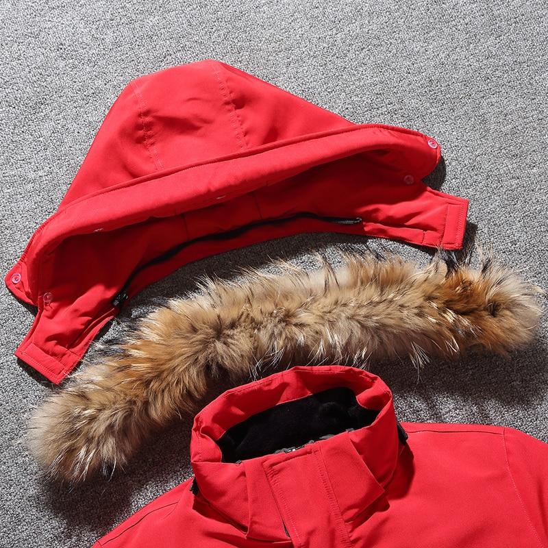 MIACAWOR -40° Down Jacket Men Thick Warm 90% White Duck Down Coats Men Hooded Fur Collar Snow Parka Winter Jackets J636