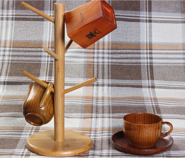 Wood Tree Shape Mug Coffee Cups Drying Storage Rack Holder Home Kitchen  Drain Hanger Organizer Stand With 6 Hooks