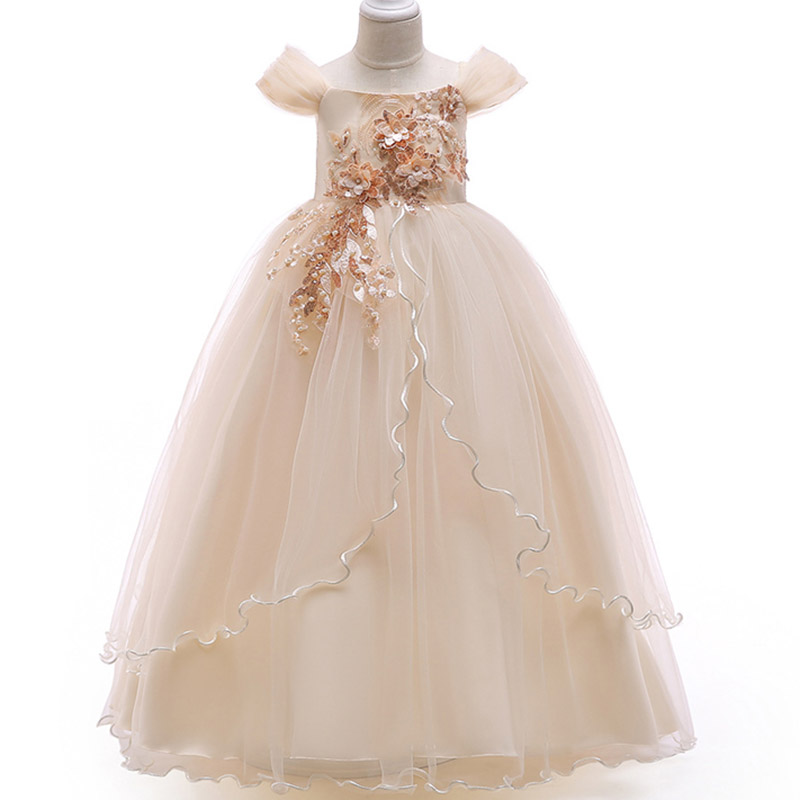Beading   dress   ladies   dress     flower     girl     dresses   for wedding   girls     dress   first communion princess party baby tutu costume LP-213