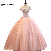 Vestido De Baile Real Photo Off The Shoulder Appliques Lace Satin Coral Ball Gown Prom Dresses
