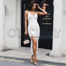CUERLY Embroidery v neck backless long summer dress Women sexy split lace white Strap bodycon mesh party 2019