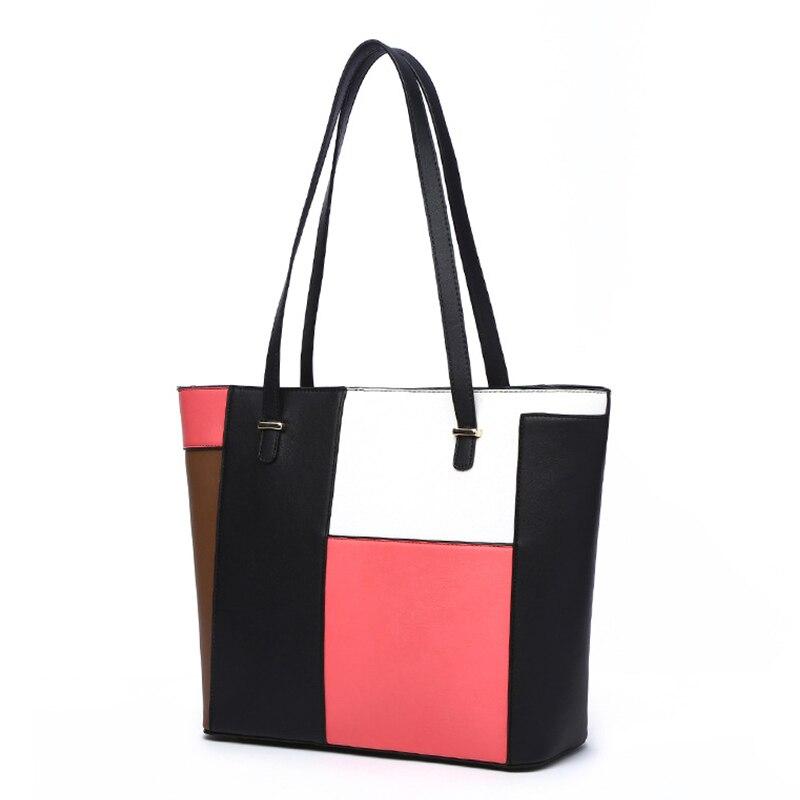 Female PU Leather Handbag Big Tote Bag Ladies Sac Fashion Casual Women Single Shoulder Bags Patchwork Hit Color Handbags