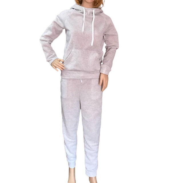2020 Autumn Winter Two-piece Tracksuit Jogging Suits For Women Sport Suits Black Gray Hooded Running Set Sweat Pants Jogging Set 4