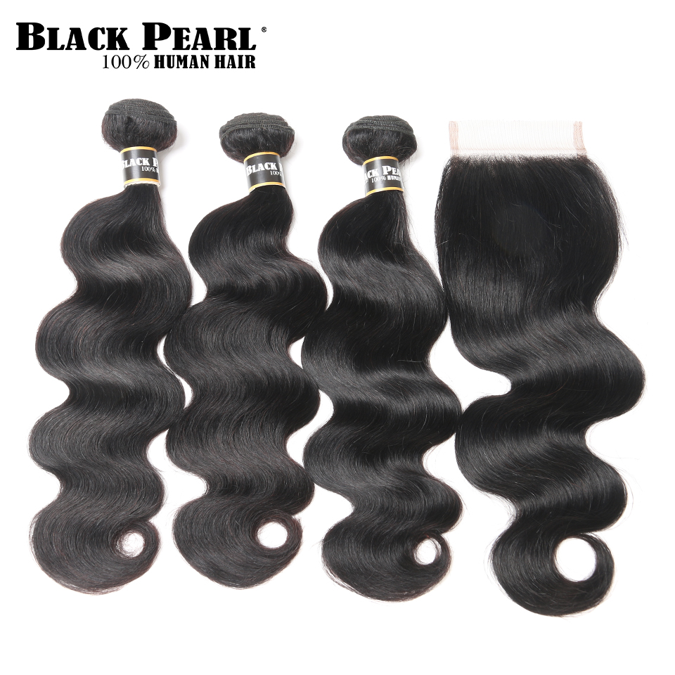 Black Pearl Pre Colored Peruvian Body Wave Human Hair Bundles with Closure 4 pc lot 3