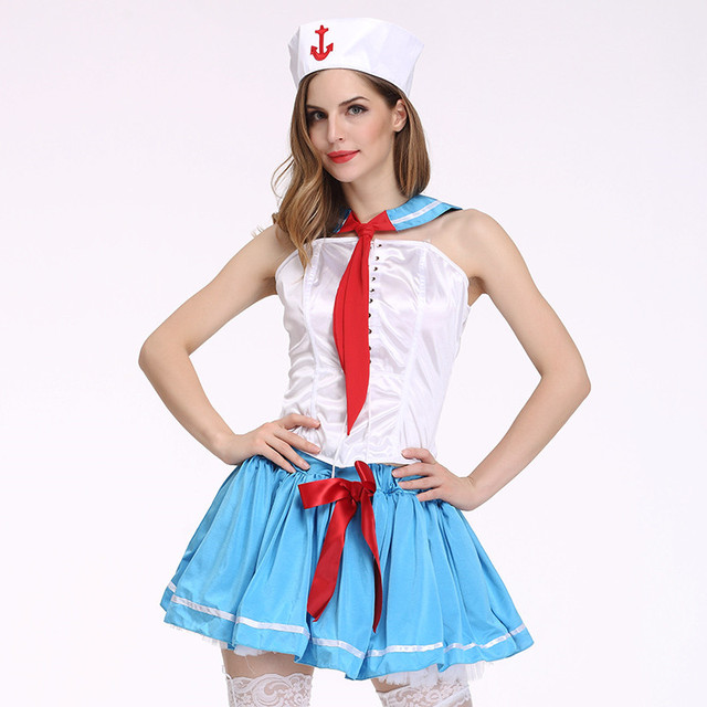 Women 4 Sets Sexy Sailor Costumes 2017 Sexy Hot Sailor Palys Sexy High School Girls With