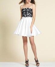 b19ed9ff21647 Ucuz Siyah Dantel Üst Beyaz Spagetti Sapanlar ile Etek Kısa Mezuniyet  Elbiseleri Mezuniyet Kokteyl Elbiseleri vestido de formatu.