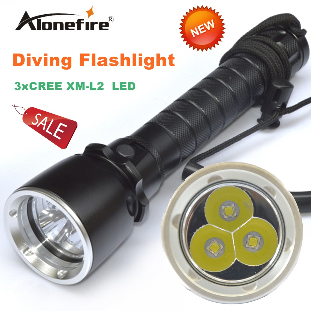 Alonefire DV20 CREE XML L2 LED 3000 Lumen 50-60 meters Underwater Diving diver 18650 Flashlight Torch Light Lamp Waterproof 10000 lumen diving flashlight led underwater hunting torch high power light waterproof flashlights 18650 rechargeable lamp
