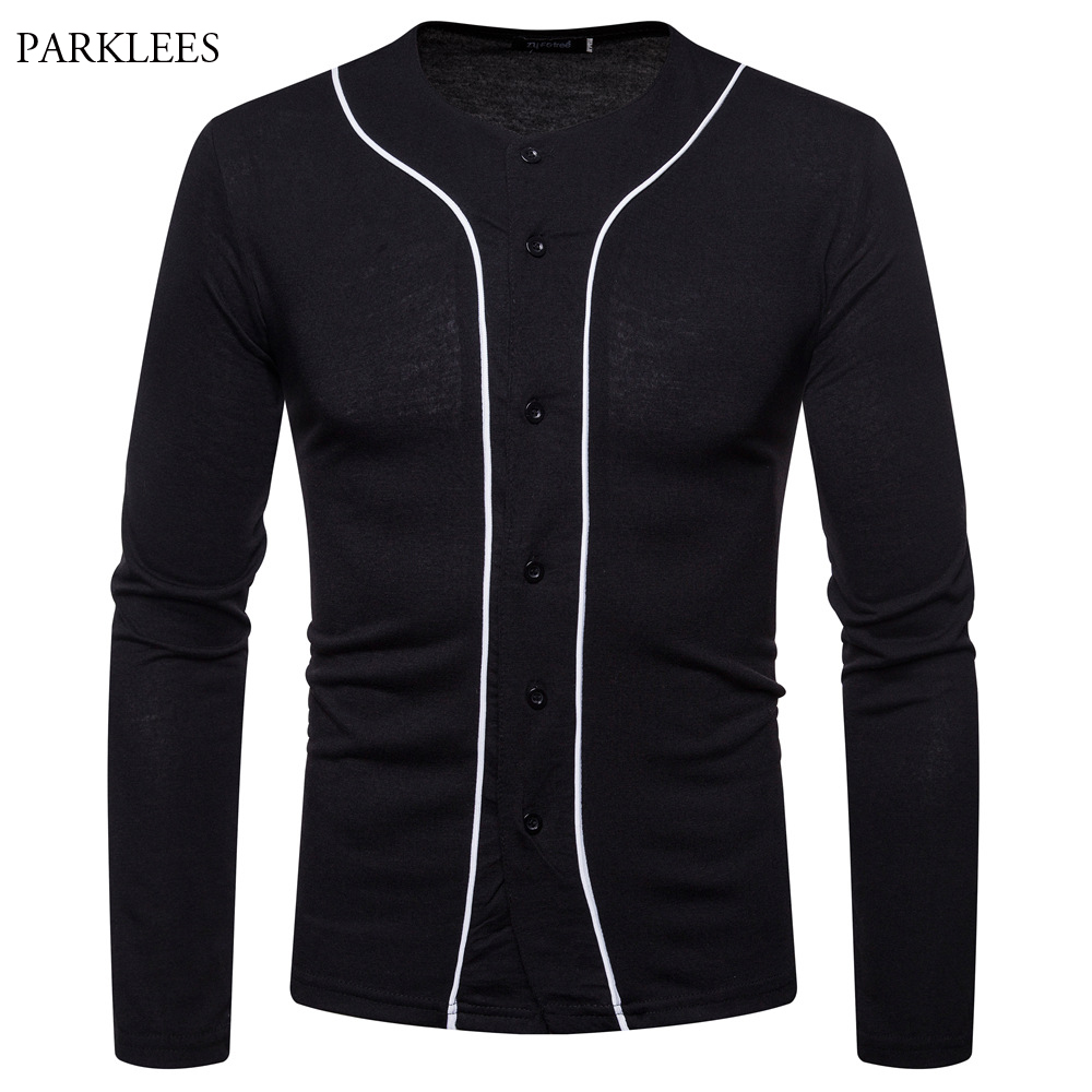 14271d77d1e BIG SALE  CHEAP Black Baseball Jersey Men Long Sleeve V Neck Mens ...