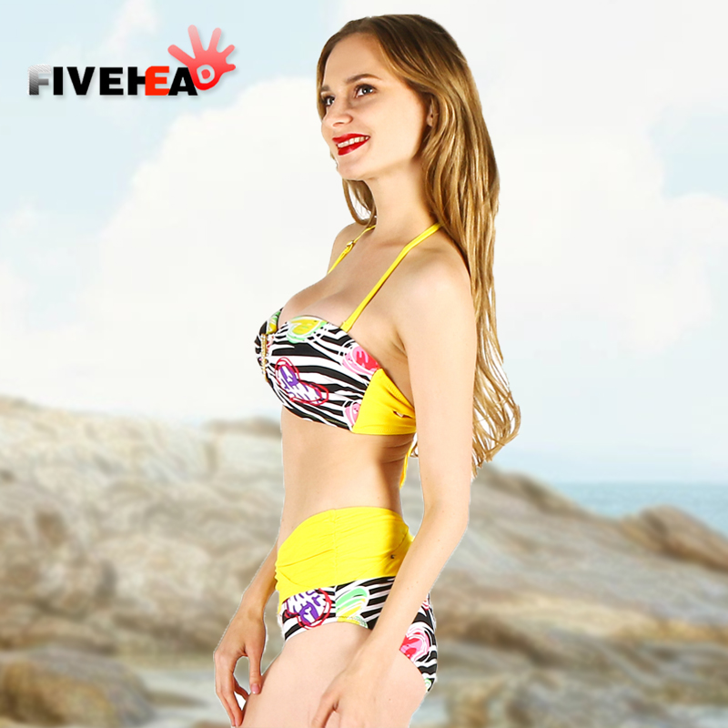 bikini women swimwear sexy sling low waist halter deep v printed large size big cup plus bust bathing swimsuit biquini