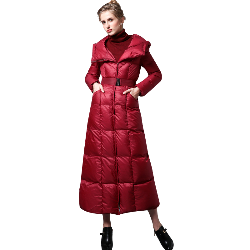 High Quality S-4XL Cotton Wool Big Coat Women Winter   Parka   Plus Size X long Jacket Warm Overcoat With Belt Red Outwear Cap 6409
