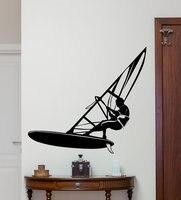 Free Shipping Windsurfer Windsurfing On Sea Ocean Extreme Sport Fashion Wall Sticker Kids Bedroom Bathroom Wall