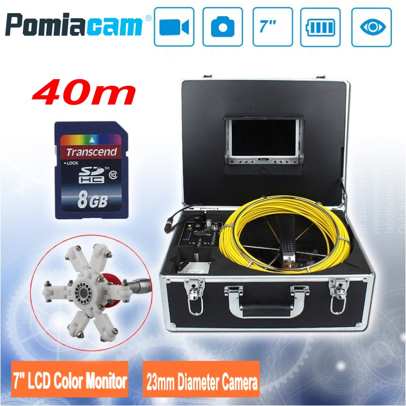 7D1 40M 131ft DVR Drain Endoscope Pipe Inspection Camera system 23mm Industrial Pipeline Endoscope Snake Camera with 8GB SD card dhlfree wp71 50m sewer drain pipe inspection camera system 7 lcd video snake pipeline endoscope borescope underwater mini camera
