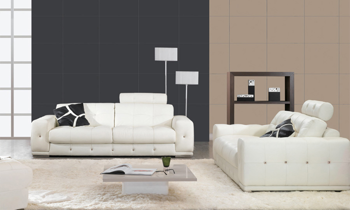 Free Shipping 123 Sofa Set Classic White Leather, Top Grain Leather, Solid  Wood Frame