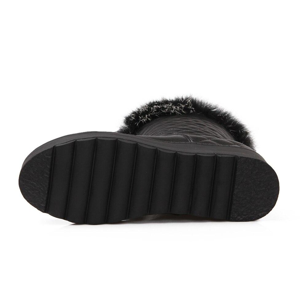 Chaud Nouvelle Cheveux Pour Chaussures Hiver Arrivée Anti Le Imperméables Qzyerai Lapin dérapage Veau L'eau Des blanc Réel À Chaussures Femmes Noir Bottes Neige n07axq