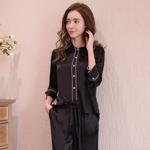 Image 2 - Genuine Silk Womens Pajamas 100% Silk Sleepwear Female High Quality Sexy Black Pyjama Pants Two Piece Sets T8148