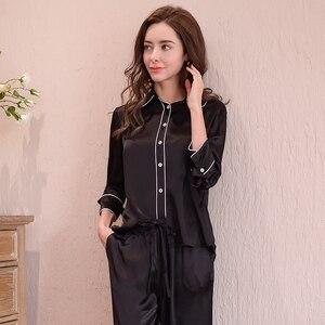 Image 2 - Prawdziwy jedwab kobiet piżamy 100% jedwabna bielizna nocna kobiet wysokiej jakości Sexy czarne spodnie piżamy dwuczęściowe zestawy T8148