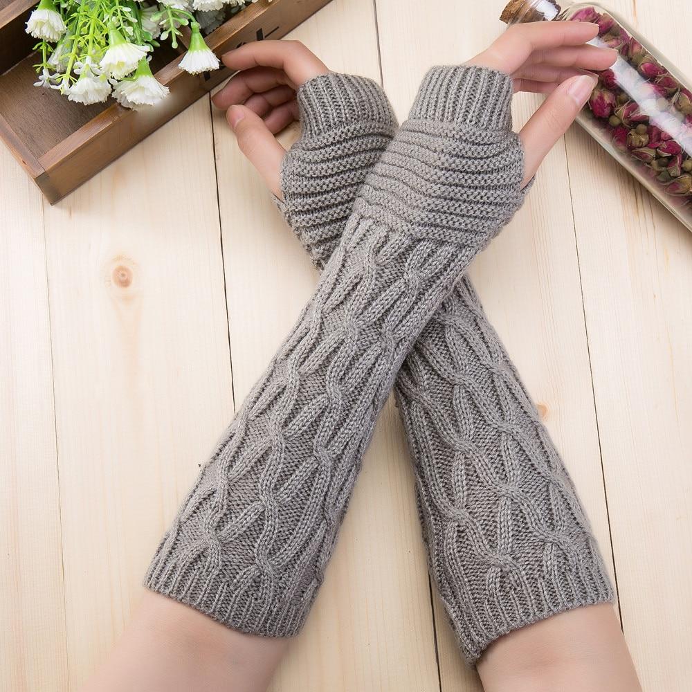 Armstulpen Handschuh-fingerlose Stricken Twist Winter Warme Weiche Mode Wärmer Dame Handschuhe Praktische Casual Handschuhe Lange Arm Frauen Herbst