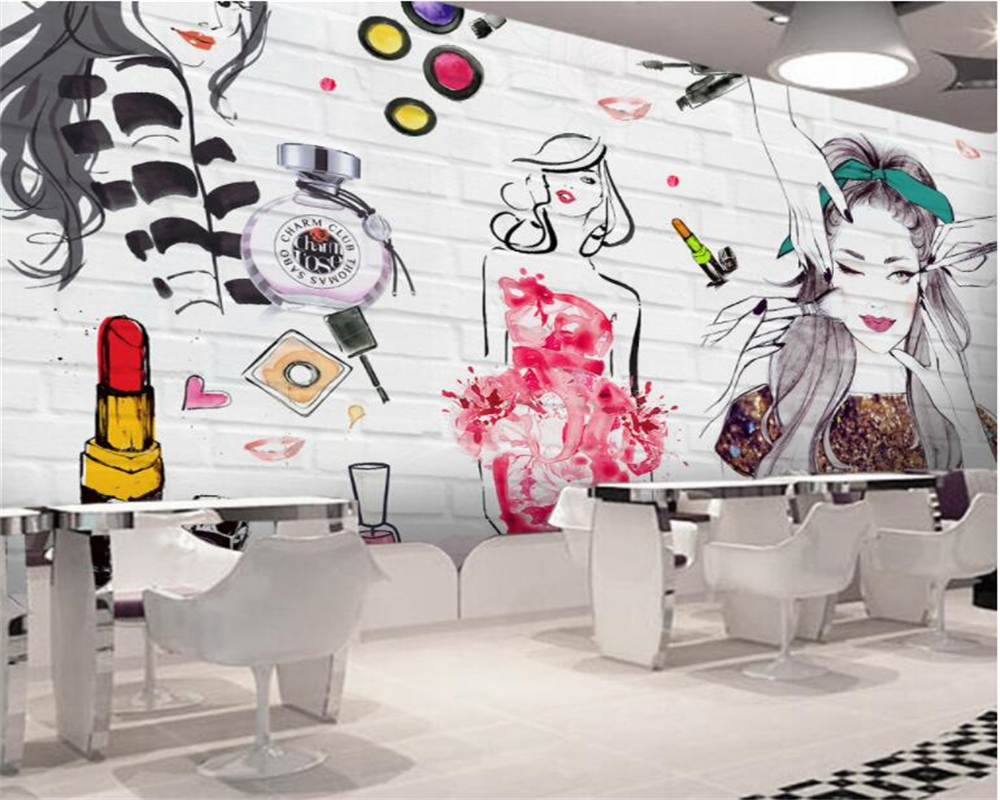 Beibehang Custom 3D wallpaper watercolor brick wall beauty beauty ... for 3d Wall Graphic Design  193tgx