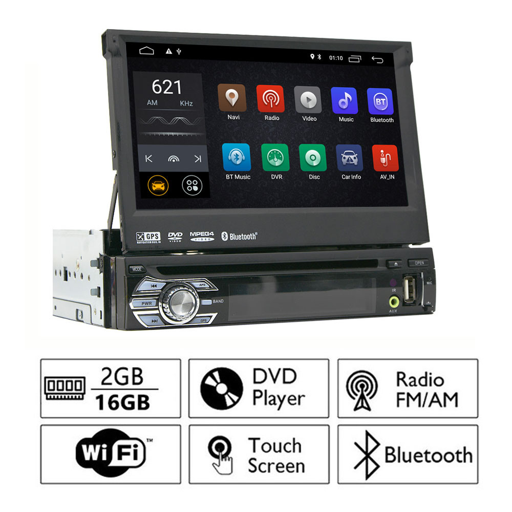 Universal 7 inch Retractable Car DVD Player 1din Android 8.1 Touch Screen Car Stereo Radio Audio Multimedia Player GPS Navi SWC