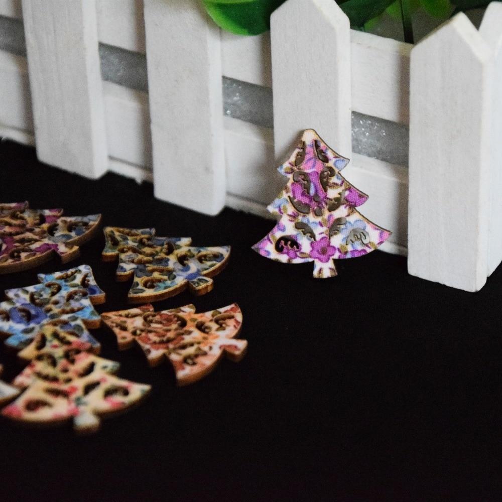 50 шт. Смешанные полые Рождество дерева Деревянный Пуговицы патч Кнопка Fit Вышивание и Скрапбукинг 33 мм x 35 мм xp0092