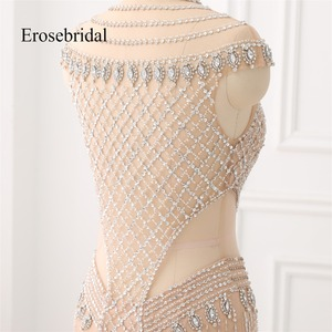 Image 4 - High Collar 2019 Mermaid Evening Dress Beaded Long Evening Gown Sexy Beading Illusion Back robe de soiree In Stock