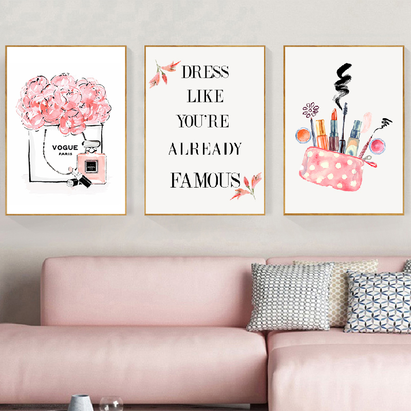 Fashion Pink Pictures Canvas Painting Teen Girls Room Decor Watercolor Vogue Makeup Posters And Prints Gifts For Her Calligraphy Aliexpress
