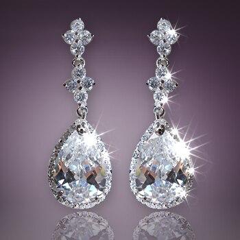 Luxury Austria Crystal Earring Zircon 925 Sterling Silver Pin Drop Ear Clip Created Diamond