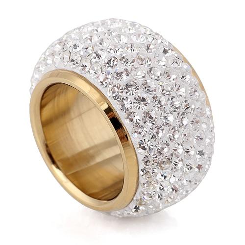 Оптовая Продажа Сияющий Полный горный хрусталь палец кольца для женщины роскошный пункт моды нового Античное золото-цвет