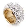 Atacado brilhando cheia de strass anéis de dedo para a mulher parágrafo luxuoso moda novo banhado a ouro