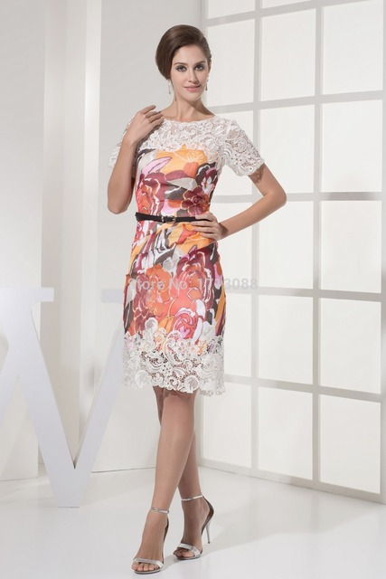 Plus Size Mother Of The Bride Dresses Pattern With Sleeves Knee Length Tank Lace Zipper