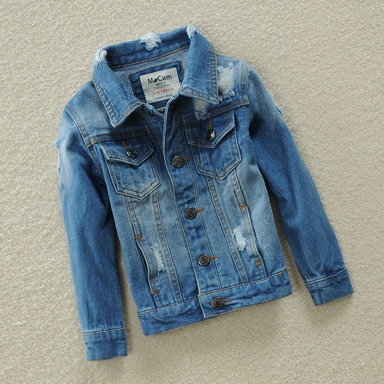 ФОТО 2016 Autumn Classic Kids Jeans Jacket For Boys Girls Clothes Denim Trench Girls Jacket Cotton Fashion Beggars Coat 90-140cm