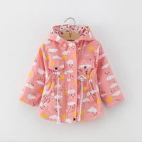 Girls Coats and Jackets Kids 2018 Spring Brand Children For Girls Clothes Cartoon Print Outerwear Hooded For 2 6Y
