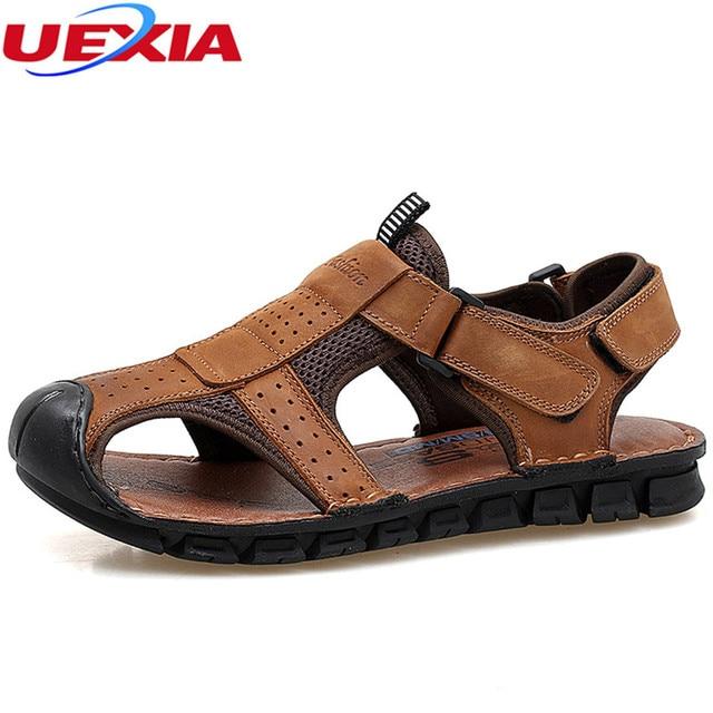 Sandales en cuir d'été pour hommes chaussures e... xVgitXpJF5