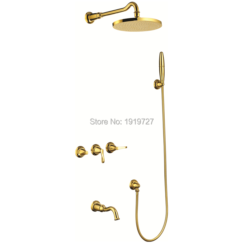 Newly Patent Design 100% Full Brass Gold Lever Shower Set With 8 Inch Ball Jointed Rainfall Bathroom Shower Faucet Contap original thomastik vision titanium solo vit100 violin strings full set medium with ball end full set made in austria