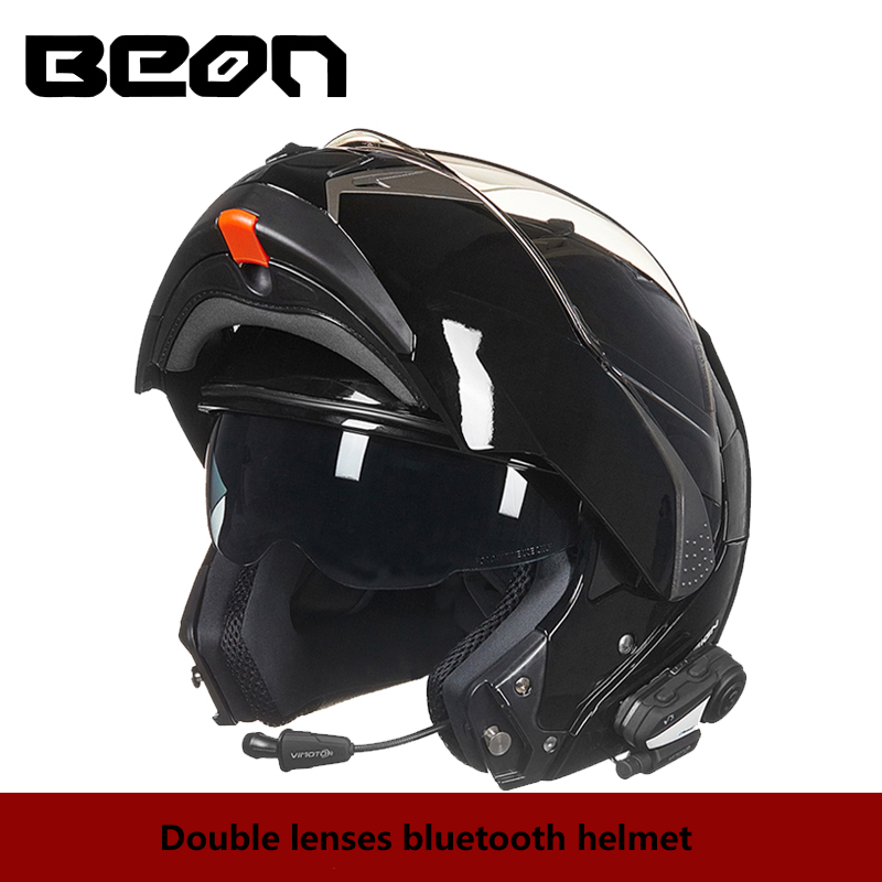 BEON Motorcycle Flip up Helmets Double Lenses BLUETOOTH Helmet Mens Full Face Motorbike Racing Riding Motocross Helmet ...