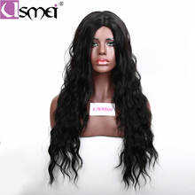 USMEI 28 inches Long hair wig body wave Black Wig Synthetic Wigs for Women Natural Middle Part Heat Resistant Hair cosplay wig