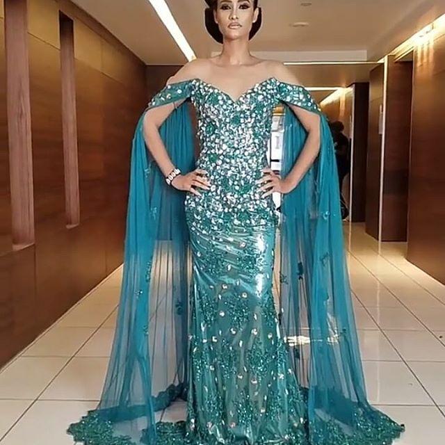 Fête Sirène Designer Cristaux Longue Faire Pour Perles Sexy La Off De Épaule Marque Formelle Soirée Robe Pq1RyI88