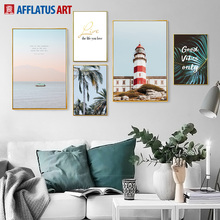 Tower Palm Leaf Coconut Tree Seascape Wall Art Canvas Painting Nordic Posters And Prints Pictures For Living Room Decor