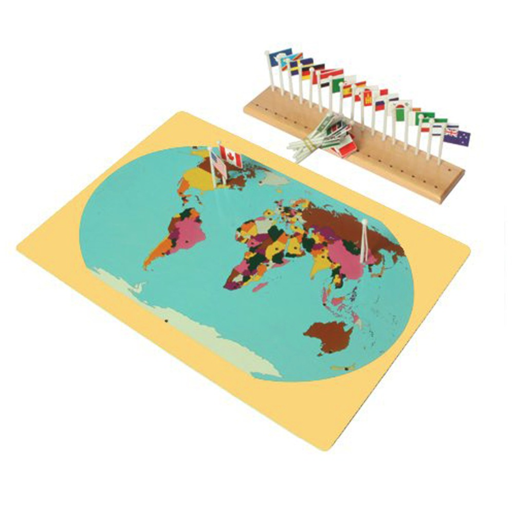 Montessori Materil World Map, Flags and Stand For Kids Early Development Educational Wooden ToyMontessori Materil World Map, Flags and Stand For Kids Early Development Educational Wooden Toy