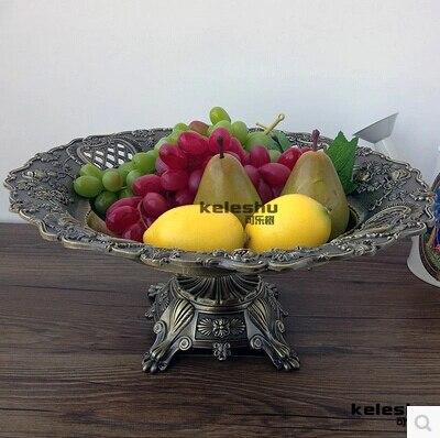 38 см * 38 см Европейский античная бронза рельефы большой с фруктами, сухофрукты, лоток для хранения, дома декоративная тарелка с фруктами SG031